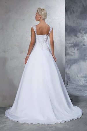 Empire Waist Appliques Chiffon Wide Straps Lace-up Wedding Dress - 2