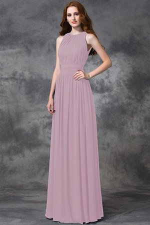 Sleeveless Ruched Natural Waist Chiffon Long Bridesmaid Dress - 21