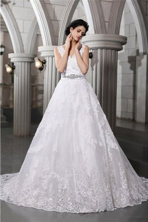 Beading Appliques Organza Zipper Up Sleeveless Wedding Dress - 1