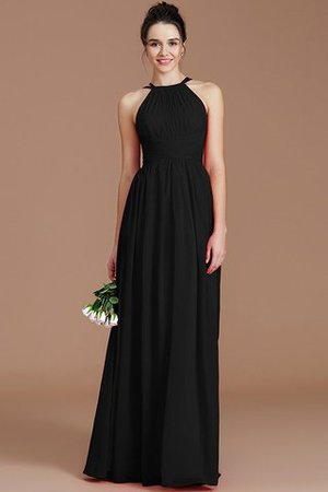 Ruched Floor Length Chiffon Natural Waist Halter Bridesmaid Dress - 7