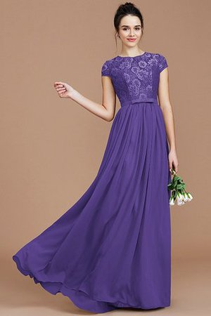 A-Line Jewel Lace Short Sleeves Bridesmaid Dress - 30