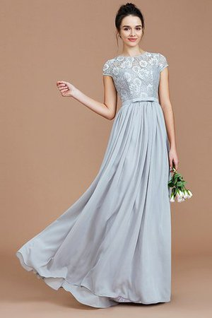 A-Line Jewel Lace Short Sleeves Bridesmaid Dress - 1