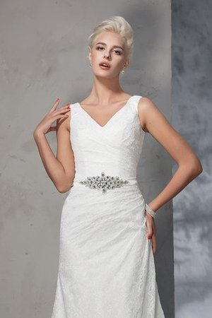 Sleeveless Mermaid V-Neck Lace Natural Waist Wedding Dress - 7