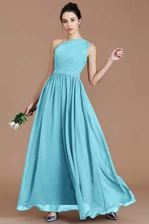 Floor Length Natural Waist Chiffon Ruched One Shoulder Bridesmaid Dress - 7