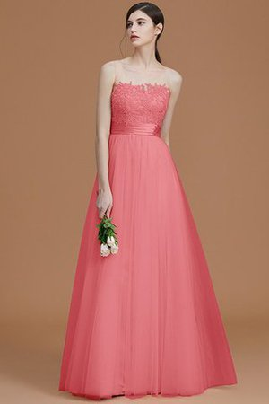 Tulle Zipper Up A-Line Appliques Bridesmaid Dress - 34