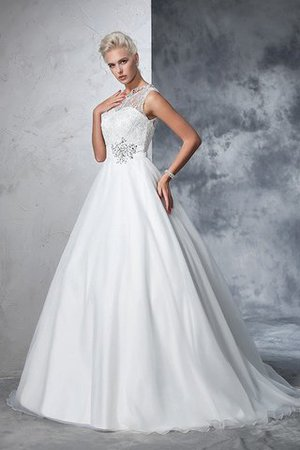 Empire Waist Ball Gown Long Sleeveless Lace Wedding Dress - 6