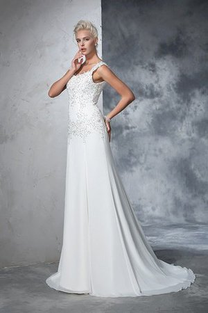 Empire Waist Court Train Sleeveless Chiffon Wide Straps Wedding Dress - 5