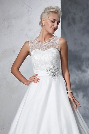 Empire Waist Ball Gown Long Sleeveless Lace Wedding Dress - 7