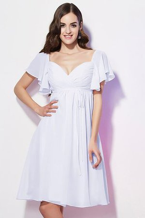 Ruffles Knee Length Short Sleeves Sweetheart Bridesmaid Dress - 29