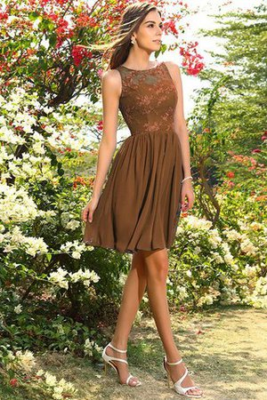 A-Line Natural Waist Sleeveless Chiffon Short Bridesmaid Dress - 4