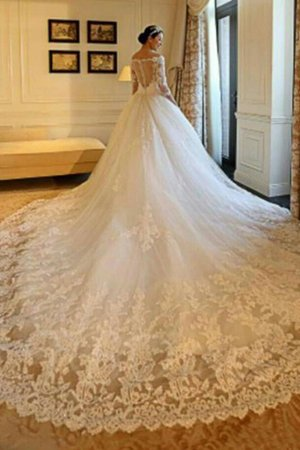 3/4 Length Sleeves Church Demure Cathedral Train Zipper Up Exclusive Wedding Dress - 1