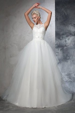 Chapel Train Bateau Empire Waist Appliques Ball Gown Wedding Dress - 1