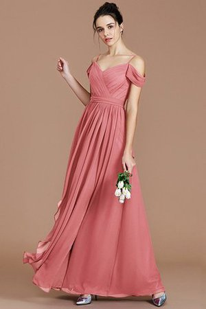 Chiffon Floor Length A-Line Ruched Bridesmaid Dress - 34