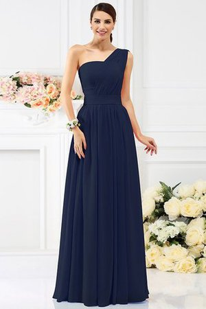 Pleated Long A-Line One Shoulder Bridesmaid Dress - 10