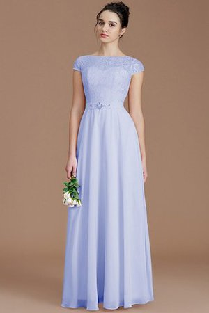 Floor Length Lace Chiffon Natural Waist Zipper Up Bridesmaid Dress - 22