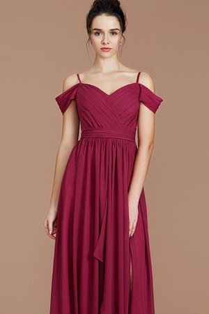 Chiffon Floor Length A-Line Ruched Bridesmaid Dress - 7