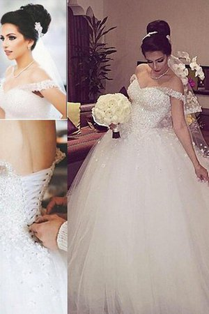 Sleeveless Ball Gown Off The Shoulder Tulle Court Train Wedding Dress - 1