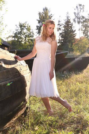 Simple Lace Fabric Sweetheart Tea Length Pleated Wedding Dress - 1