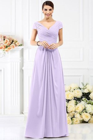 Long Empire Waist Pleated A-Line Short Sleeves Bridesmaid Dress - 19