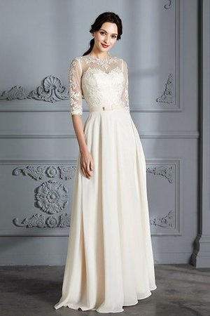 Natural Waist A-Line Scoop Half Sleeves Wedding Dress - 6