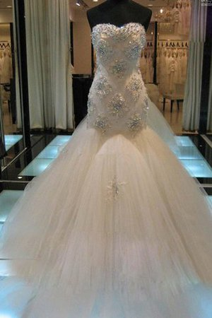 Beading Court Train Natural Waist Tulle Sweetheart Wedding Dress - 1