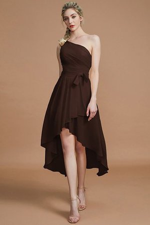 Asymmetrical Chiffon Natural Waist Bridesmaid Dress - 12