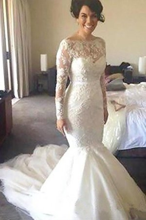 Natural Waist Appliques A-Line Long Sleeves Wedding Dress - 1