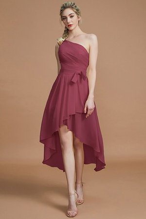 Asymmetrical Chiffon Natural Waist Bridesmaid Dress - 10