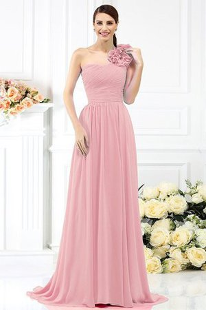 Chiffon A-Line One Shoulder Long Flowers Bridesmaid Dress - 21