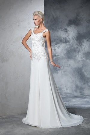 Empire Waist Court Train Sleeveless Chiffon Wide Straps Wedding Dress - 4