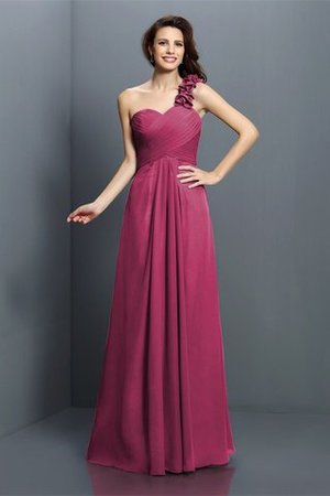 Zipper Up One Shoulder Chiffon A-Line Bridesmaid Dress - 5