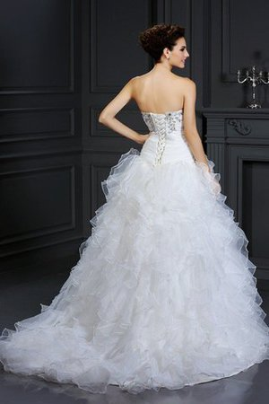 Chapel Train Beading Lace-up Sleeveless Organza Wedding Dress - 2