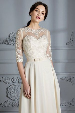 Natural Waist A-Line Scoop Half Sleeves Wedding Dress - 7
