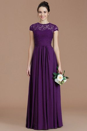 Chiffon Floor Length A-Line Jewel Short Sleeves Bridesmaid Dress - 19