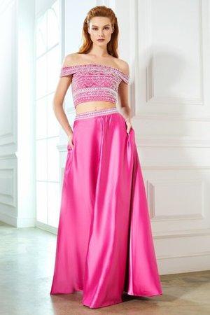 Satin Sleeveless Princess Natural Waist Beading Evening Dress - 3