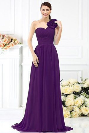 Chiffon A-Line One Shoulder Long Flowers Bridesmaid Dress - 13