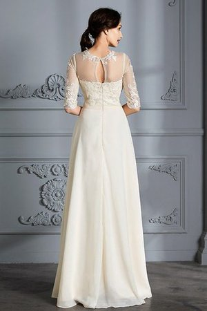 Natural Waist A-Line Scoop Half Sleeves Wedding Dress - 2
