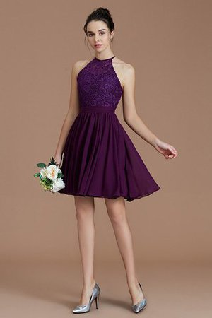 A-Line Short Halter Natural Waist Bridesmaid Dress - 3