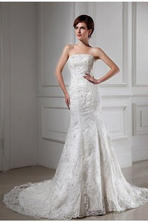 Beading Sleeveless Chapel Train Satin Mermaid Wedding Dress - 1