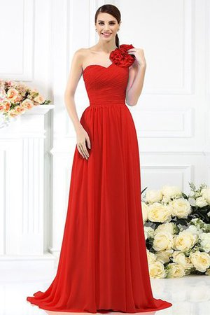 Chiffon A-Line One Shoulder Long Flowers Bridesmaid Dress - 23