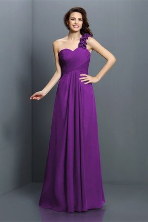 Zipper Up One Shoulder Chiffon A-Line Bridesmaid Dress - 13