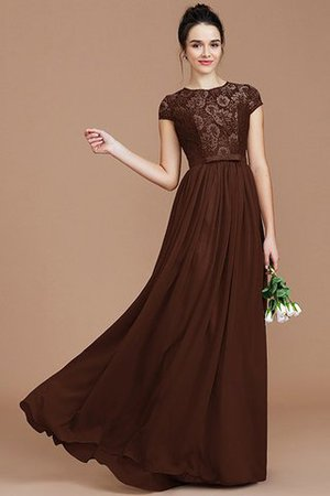 A-Line Jewel Lace Short Sleeves Bridesmaid Dress - 13
