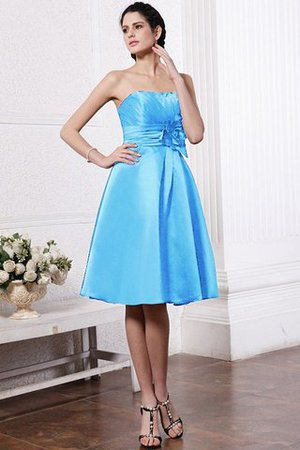 Zipper Up Princess Short Flowers Pleated Bridesmaid Dress - 3