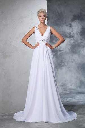 Cathedral Train Natural Waist A-Line Chiffon Wedding Dress - 3