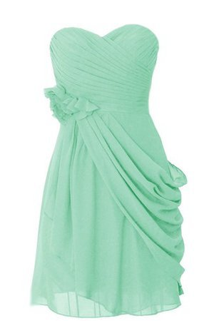 Sweetheart Draped Sleeveless Flowers Chiffon Bridesmaid Dress - 1