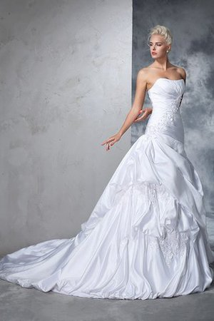 Natural Waist Appliques Long Chapel Train Strapless Wedding Dress - 5