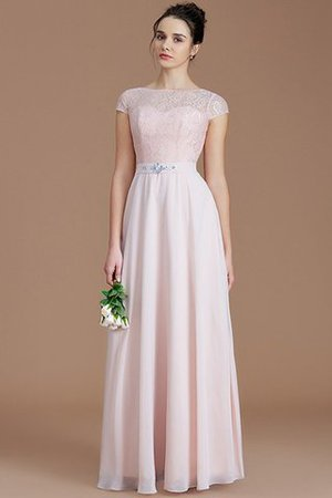 Floor Length Lace Chiffon Natural Waist Zipper Up Bridesmaid Dress - 26