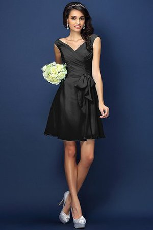 Zipper Up A-Line V-Neck Short Bridesmaid Dress - 2