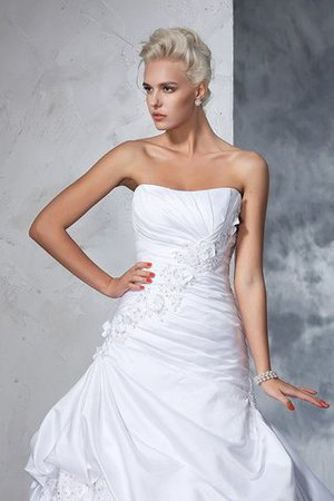 Natural Waist Appliques Long Chapel Train Strapless Wedding Dress - 6