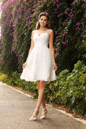 Lace A-Line Spaghetti Straps Appliques Sleeveless Wedding Dress - 1